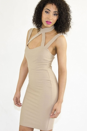 Stylish Cage Detail Nude Bodycon Dress