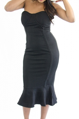 Stylish Peplum Hem Bodycon Midi Dress