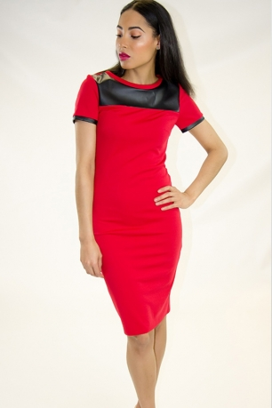 Stylish Bodycon Midi Dress With Faux leather detail