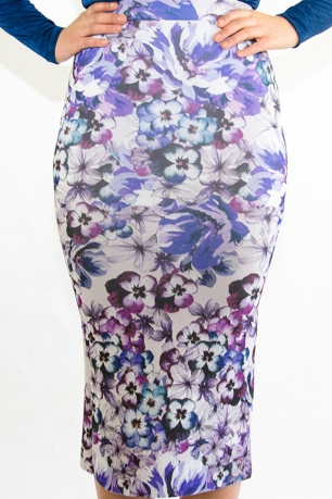 Stylish Floral Scuba Midi Skirt