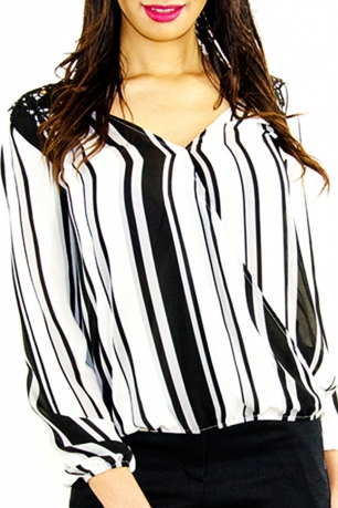 Stylish Striped Long Sleeve Top