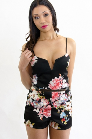 Stylish Floral Belted Playsuit