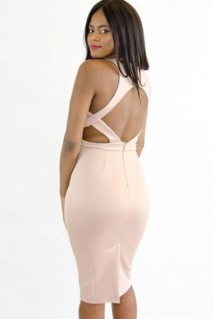 Stylish Nude Cut-out Midi Bodycon Dress