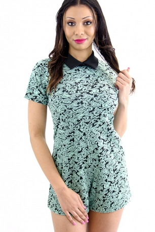 Stylish Playsuit With Collar