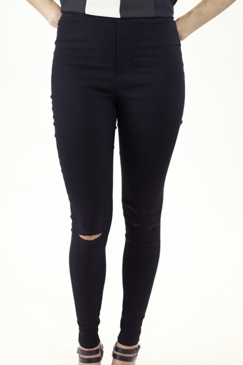 Stylish High Waisted Ripped Knee Jeggings