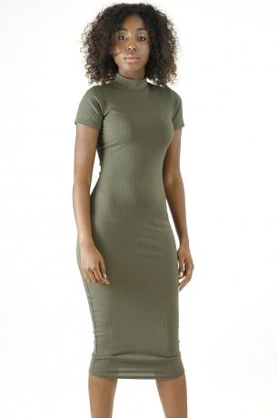 Stylish High Neck Midi Bodycon Dress