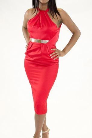 Stylish Front Twist With Belt Detail Dress