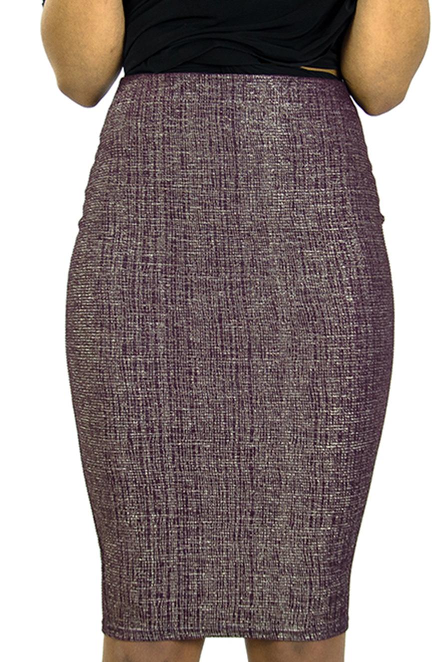 Stylish Metallic High waisted Pencil skirt - Shop H&S Stylish Skirts