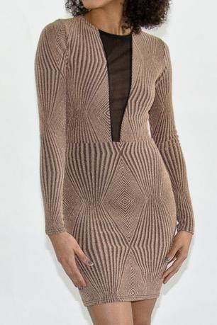 Stylish Sheer Front Glitter Dress