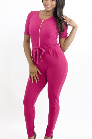 Stylish Belted Jumpsuit With Front Zip