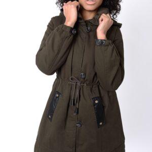 Stylish Khaki Parka Coat