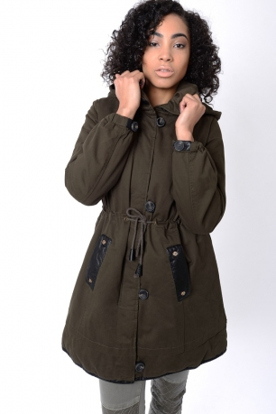 Stylish Khaki Parka Coat