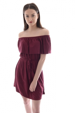 Stylish Off The Shoulder Suede Dress