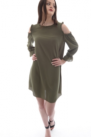 Stylish Cold Shoulder Frill Dress