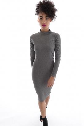 Stylish High Neck Rib Dress