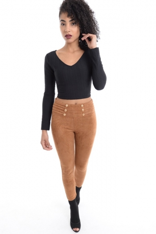 Stylish Camel Suede Leggings