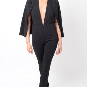 Stylish Plunge Black Jumpsuit