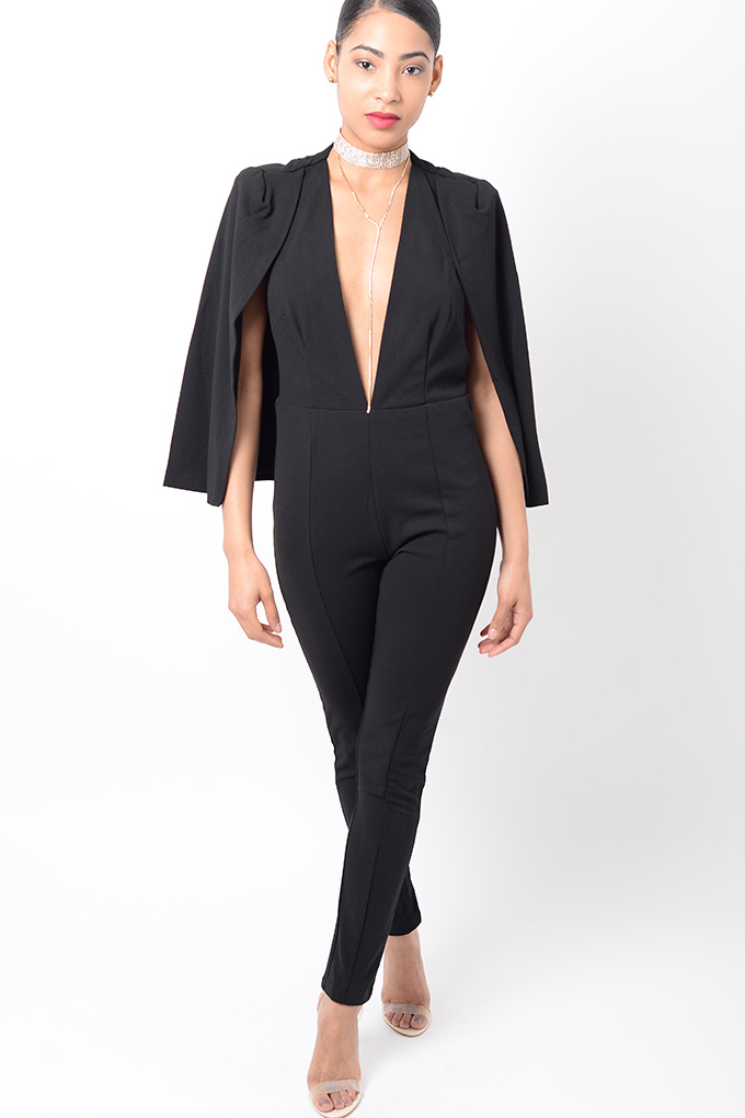 71e65eea938 Stylish Plunge Black Jumpsuit Stylish Clothes