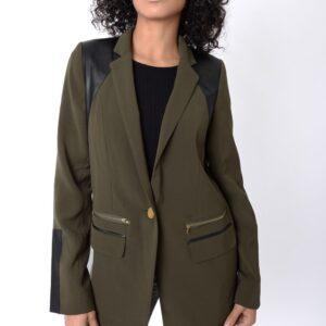 Stylish Khaki Blazer With Leather Detail