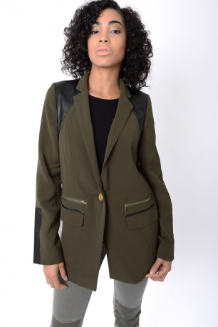 Stylish Khaki Blazer With Leather Detail