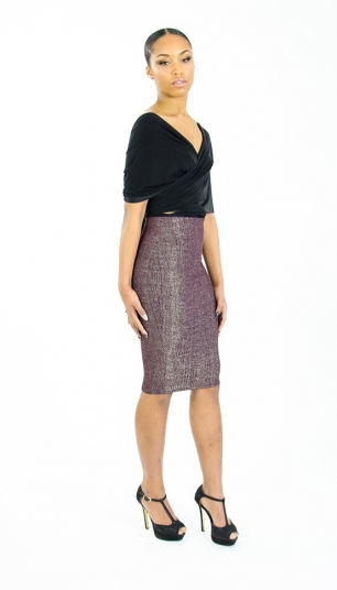 Stylish Metallic High waisted Pencil skirt