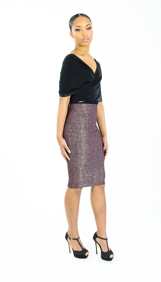 stylish metallic high waisted pencil skirt stylish