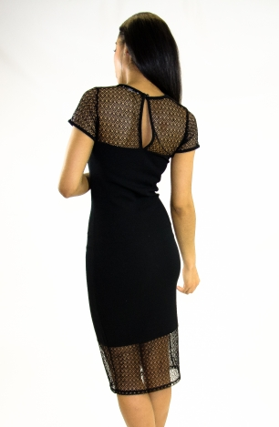 Stylish Mesh Insert Bodycon Dress