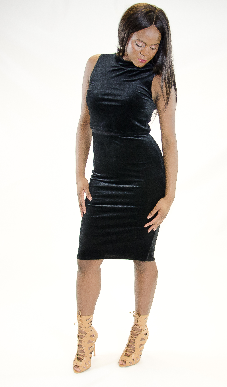 Stylish Crop Top Velvet Bodycon Dress Stylish Bodycon