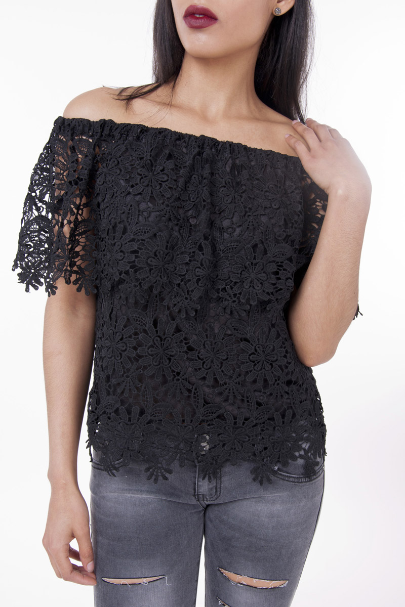Stylish Tops Collection 2013 For Girls: Stylish Lace Off The Shoulder Top- Shop H&S Off The