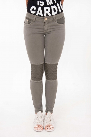 Stylish Faux Leather Contrast Jeans
