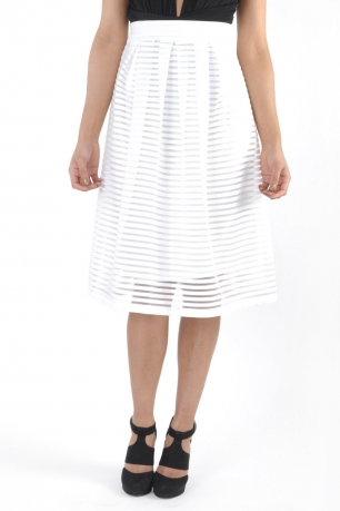 Stylish Textured Stripe Midi Skirt