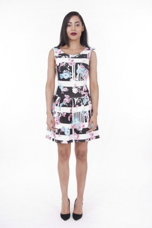 Stylish Floral Print Skater Dress