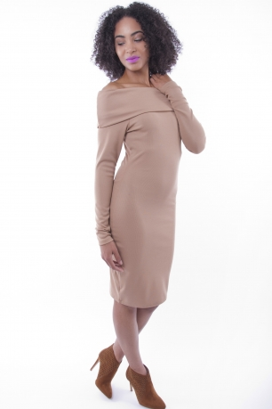 Stylish Off The Shoulder Midi Bodycon Dress