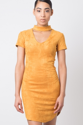 Stylish Suede Choker Dress