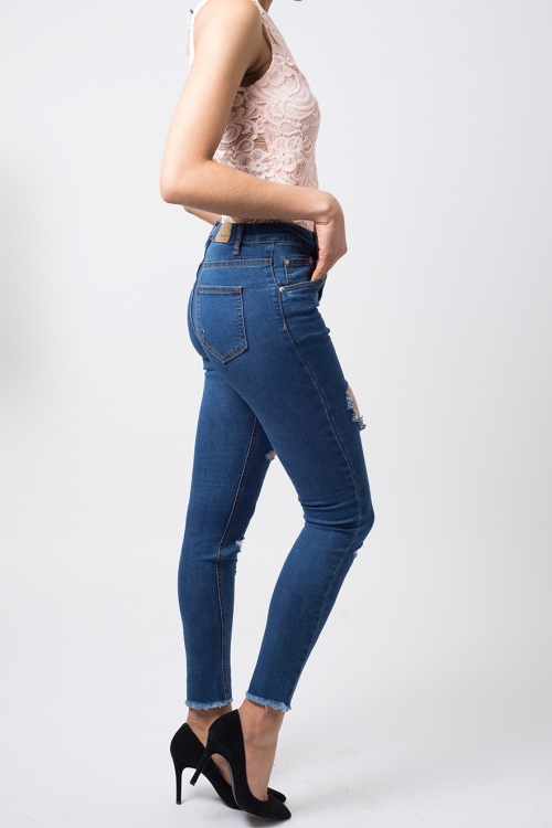 Stylish High Waisted Skinny Ripped Jeans