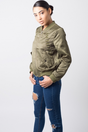 Stylish Lace Up Bomber Jacket