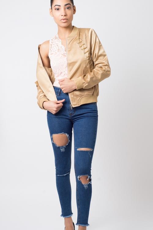 Stylish Lace Up Bomber Jacket
