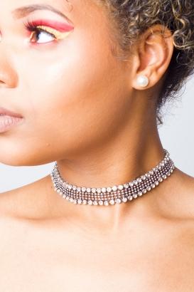 Stylish Silver Stone Choker Necklace