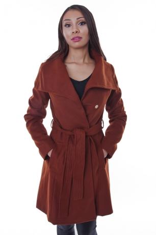 Stylish Rust Belted Coat