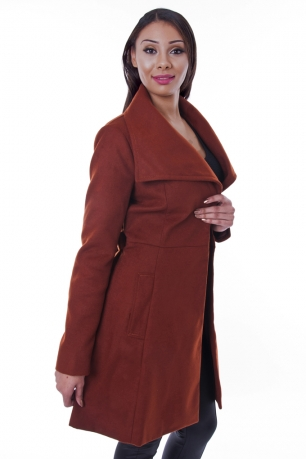 Stylish Rust Belted Coat