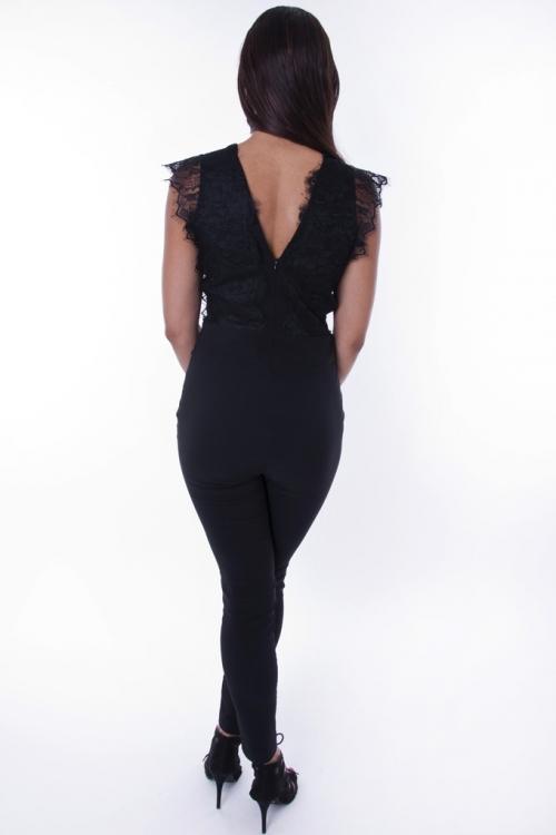 Stylish Plunge Lace Jumpsuit