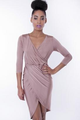 Stylish Slinky Front Wrap Dress