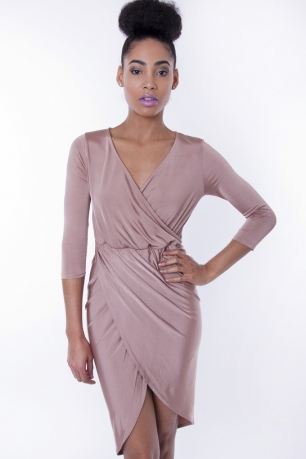 Stylish Slinky Front Wrap Dress