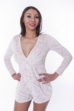 Stylish Glitter Wrap Playsuit