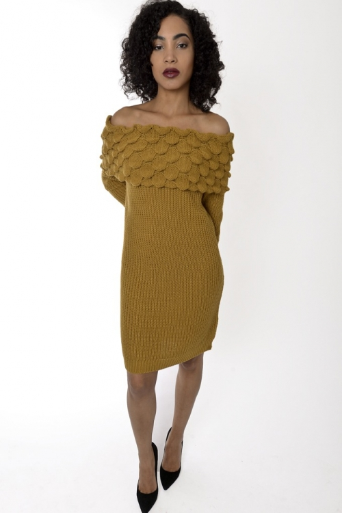 Stylish Off The Shoulder Knitted Dress