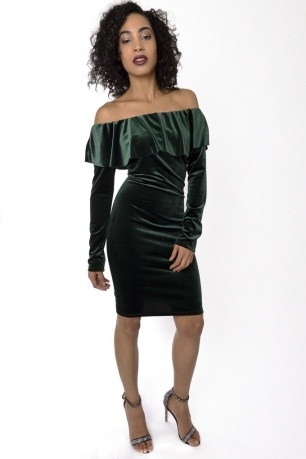 Stylish Off The Shoulder Velvet Dress