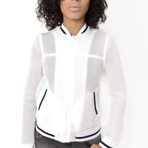 Stylish White Mesh Bomber Jacket