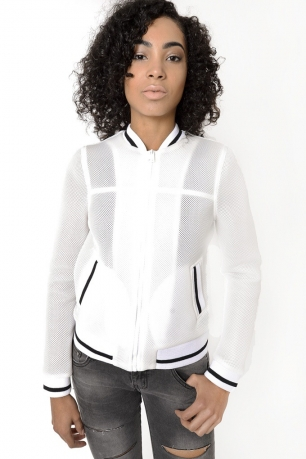 Stylish White Mesh Bomber Jacket