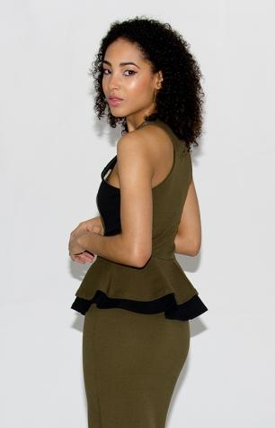 Stylish Peplum Midi Dress