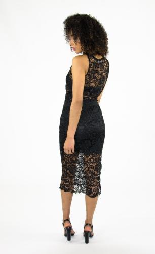 Stylish Lace Two Piece Bodycon Midi Dress